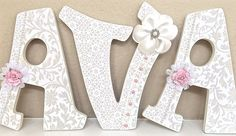 Custom Nursery Letters, Baby Girl Nursery Decor, Wall Letters, Personalized Baby…