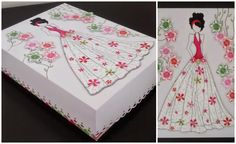 A paper box decorated with a prima doll stamp and Stampin' Up petite petals stamp set. Cut the boarder with a border punch to give a touch.