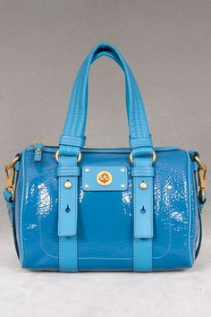 Marc Jacobs Turnlock Shine Lil Shifty Satchel In Electric Teal