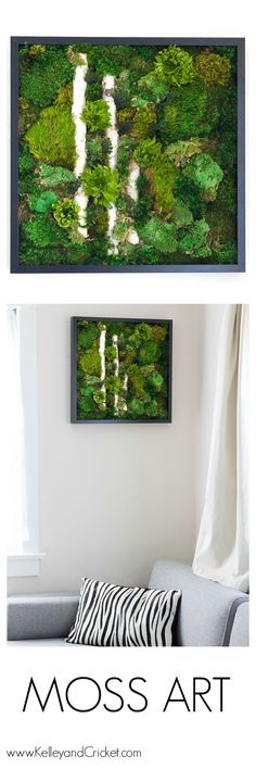 Wouldn't this moss wall art look beautiful in you home or office? This vibrant, unique, and life-like moss artwork is made from 100% naturally preserved moss, and requires NO CARE! check out this piece, any many others, or design your very own at www.KelleyandCricket.com/mossart