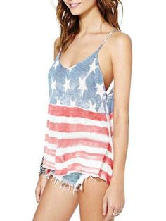 Multicolor American Flag Print Spaghetti Strap Backless Tank   Choies  #clothings #fashionapparel #sale #style #fashion #Cardigan #apparel #clothing #clothingline #christmas #palysuit #shoes #boot #plimsolls #shippingonline