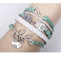 DIY Handmade Infinity Silver 8 Owl Leaf Bird Leather Bracelet Wristband DC2543 | eBay