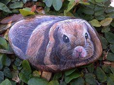 Easter Basket Stuffer/Hand painted Rock/Bunny Rabbit/Garden Stone//Kids Pet Rock/Yard Ornament/Fine Art on Etsy