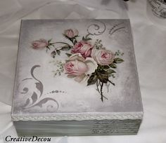 Pin on Zimmerman - Altered Boxes Painted Boxes, Wooden Boxes, Hand Painted, Decoupage Box, Decoupage Vintage, Vintage Box, Vintage Shabby Chic, Mixed Media Boxes, Altered Cigar Boxes