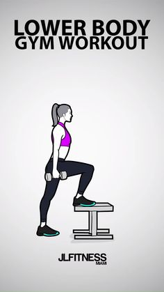 Lower Body Gym Workout- For Women Lower Body Gym Workout: 5 exercises. Rest 50 seconds in between. Volleyball Workouts, Gym Workouts Women, Gym Workout Videos, At Home Workouts, Gym Video, Mental Training, Strength Training, Senior Fitness, Dumbbell Workout