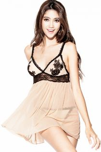 be70567af4a  6.95-Plus Size Apricot Sheer Mesh Babydoll Lingerie With Black Embroidery  Bust   G-