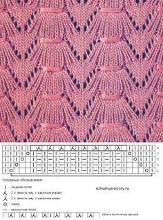 Фантазийный узор спицами с обвитыми петлями | Ажурные Узоры