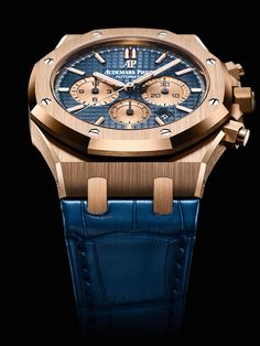 Audemars Piguet Royal Oak Chronograph - rose gold, blue dial/strap
