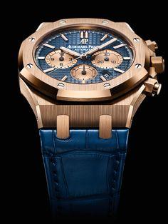 Audemars Piguet Royal Oak Chronograph - rose gold, blue dial/strap