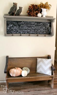 The Fancy Shack- fall decor and old church pew