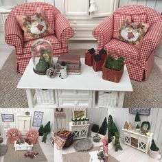 Miniature Christmas Scene Dollhouse By miniatyrmama Miniature Rooms, Miniature Houses, Miniature Furniture, Christmas Barbie, Christmas Home, Merry Christmas, Christmas Costumes, Christmas Scenes Pictures, Doll House Crafts