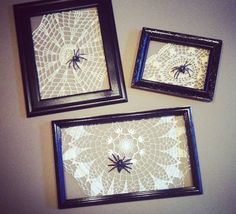 framed spiderwebs ~ no source given but pretty simple project: lace doilies in frames with plastic spiders | via Homedit.com