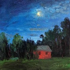 Moonrise over Barn by Takeyce Walter