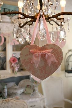 Simple Valentine Heart from My Romantic Home  Love the idea - wrap a heart shape with toile or pretty fabric. Tie with ribbon & hang anywhere   No idea what the real link is - just going by pic here.