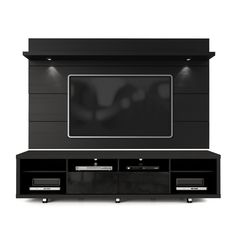 Manhattan Comfort Cabrini Tv Stand And Floating Wall Tv Panel With Led Lights 2.2