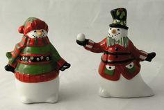 Fitz Floyd Snowman Friends Gather Here Salt Pepper Shaker Set 2012 New Figural