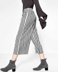CROPPED STRIPED FLOWING TROUSERS-Culottes-TROUSERS-WOMAN | ZARA United States