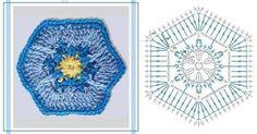 Hexagono a ganchillo con diagrama