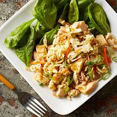 Orange Chicken Coleslaw Salad: This unusual recipe combines orange marmalade and soy sauce to make a sweet-and-salty dressing for chicken, cabbage and crunchy ramen noodles. Serve the mixture over a bed of fresh spinach for a nutrient-packed meal.