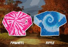 It's not too late to get your tie dye crewnecks! These vibrant long sleeve shirts are perfect against the colorful back-drop of fall. #fall #tiedye #tiedyed #color #style #fashion #shirt #longsleeve #apparel