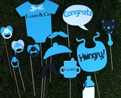 TIFFANY BLUE and BLACK  baby shower photo booth props
