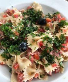 Pasta Salad with Salami, Roquefort & Black Olives