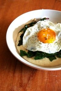 Polenta with Veggies & Egg - for low Fodmaps, use milk substitute, olive oil instead of butter.  Use green onion tops instead of regular onion.  Not sure if swiss chard is okay or not, so consider spinach as a substitute instead.  GF polenta if that is a sensitivity.