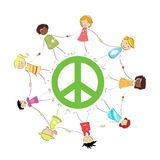 Peace sign with kids Royalty Free Stock Image