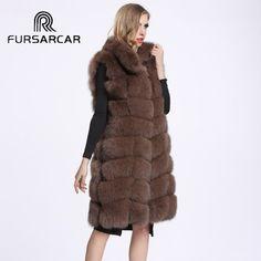 Women New Natural Fox Fur Vest Fashion Slim Real Fox Fur Waistcoat Genuine Fox Fur Gilet Free Shipping V54