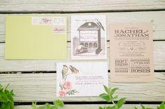 bird and flower vintage inspired wedding invitations | photo: www.staceyramsey.com