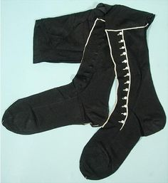 Early 20th Century Black Silk Stockings with White Trim and Tiny White Buttons to Mimic Spats
