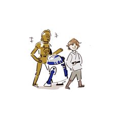 Luke and R2D2 and C3PO