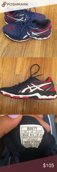 BRAND NEW Asics Sneakers Brand new, only worn once. Fun patriotic colors!!!  Originally bought on Zappos for $115. Still in brand new condition so I will not take any low ball offers. Asics Shoes Sneakers