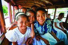 Kids on the bus in Samoa.