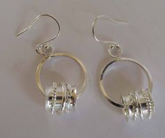 Silver dangle hoop earrings boho handmade artisan by TheresaHingJewellery on Etsy