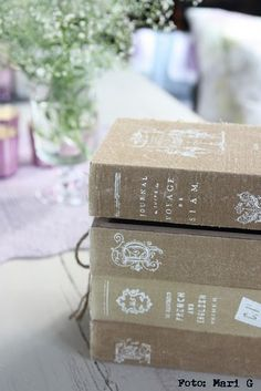Cover books with burlap and then stencil!