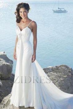 Sheath/Column Trumpet/Mermaid Empire Spaghetti Straps Chiffon Beach Wedding Dresses at IZIDRESS.com