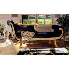 Design Toscano Queen Cleopatra Neoclassical Egyptian Chaise Sofa Couch, 6 Feet, Black and Gold Chaise Lounges, Lounge Sofa, Chaise Sofa, Cleopatra, Salvador, Bedroom Themes, Bedroom Decor, Bedroom Ideas, Bedroom Inspo