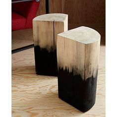 two-tone wooden side tables