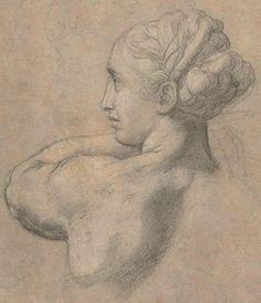 Raphael, Hoofd van een vrouw, naar links, 1517 (Detail). Rijksmuseum Amsterdam.