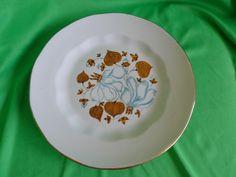 Vintage USSR Latvia Porcelain Riga Factory RPR salad plate floral p. gold trim