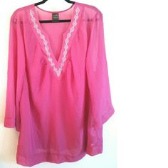 Catalina Pink Chiffon Tunic - Fits Size 18 This Catalina Pink Chiffon Top is in excellent used condition. While the tag says its a 3X for 22/24, it Fits a Size 18. (I am a 20 and it's just a bit snug.) No stretch. Vibrant color with beautiful silver stud embellishments along neckline. Tunic length. Sheer fabric, needs a cami underneath. Bust measures 25 inches across laying flat, measured from pit to pit. 34 inches long. 100% polyester. ::: Bundle 3+ items from my closet & save 30% off when…