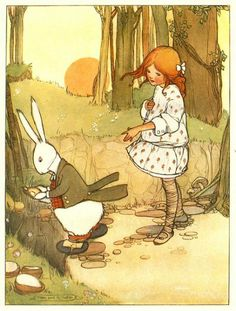 Alice's Illustrated Adventures In Wonderland: Chapter 1 ~ Down The Rabbit-Hole  -  Mabel Lucie Attwell