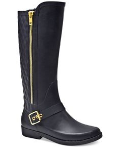 Get lux style for rainy weather in Steve Madden's Northpol rain boots featuring chic, gold-tone hardware and quilted panel details. | Rubber upper; manmade sole | Imported | Round closed-toe rain boot