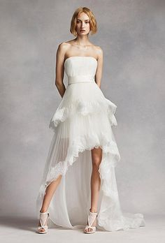 High-Low Tiered Strapless Wedding Dress by White by Vera Wang | Brides.com