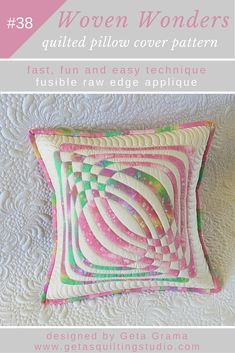 Geometric applique quilt pillow pattern - two designs for fast, fun and easy small quilts or pillows.