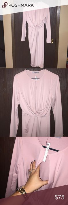 ✨NEW✨ASOS Midi Long Sleeved Dress Gorgeous blush pink, long sleeved dress. Ties in back. ✨NWT✨perfect condition!! Tall size 8 ASOS Dresses Long Sleeve