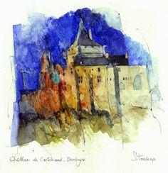 Shirley Trevena | Chateau du Castelnaud, Dordogne - Watercolour 27 x 35 cm