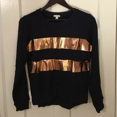 GAP Bronze Striped Sweatshirt Only worn once - great to wear with jeans or a skirt.  Cotton.  Hand wash. GAP Tops Sweatshirts & Hoodies