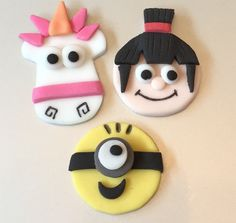 12 x edible icing Despicable Me Agnes, Unicorn & Minion cupcake toppers by ACupfulofCake on Etsy https://www.etsy.com/listing/226935141/12-x-edible-icing-despicable-me-agnes